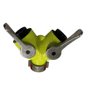 HIGH VISIBILITY 1 1/2″ FEMALE INLET X 2 1 1/2″ MALE OUTLETS WYE VALVE MODEL